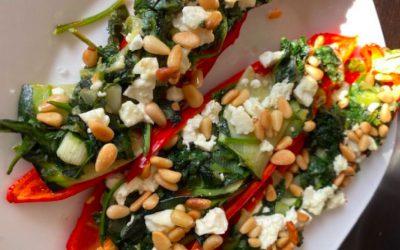 Gevulde puntpaprika met spinazie en feta