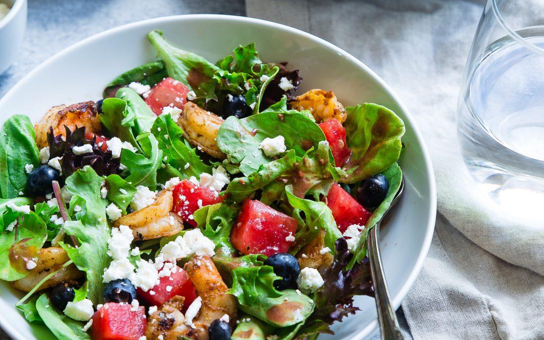 Salade met Gamba en Meloen